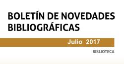 Boletín de novedades de la Biblioteca. Julio 2017