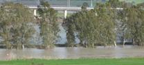 El azud de El Portal abre sus compuertas por primera vez para bajar el nivel de agua del cauce bajo del río Guadalete