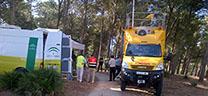 Vejer de la Frontera ha acogido hoy un ejercicio de incendio forestal para avanzar en la coordinación de emergencias