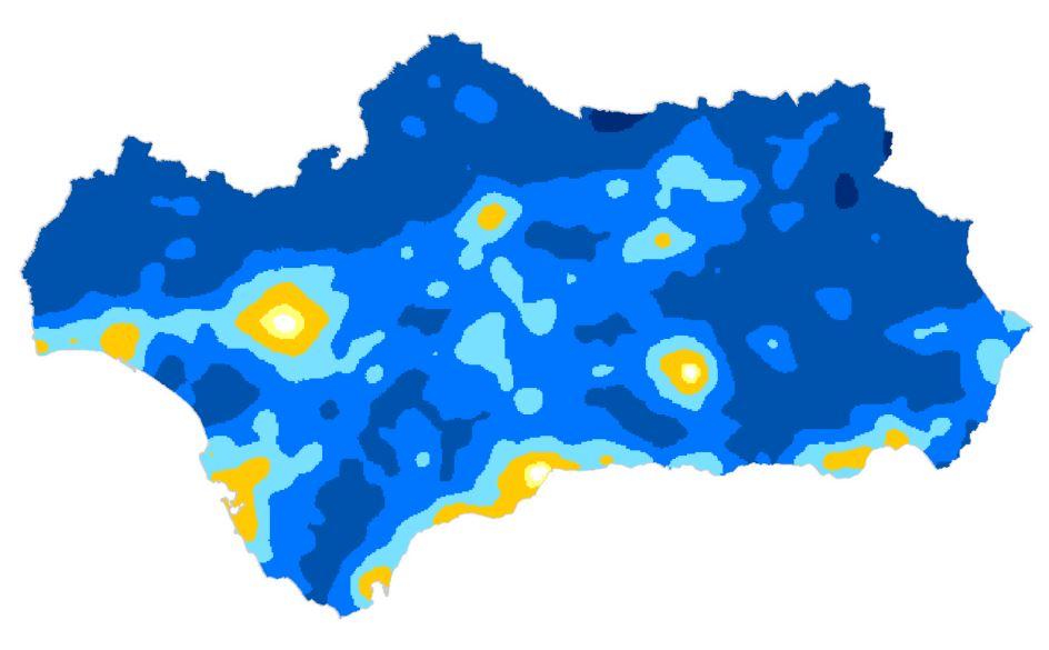 Mapa de calidad del cielo nocturno en Andalucía