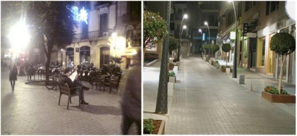 Aparecen dos imagenes distintas como ejemplo de sobreiluminacion en las calles. En una de ellas aparece un hombre sentado en una silla leyendo un periodico