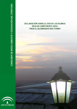 """Portada """"Declaración sobre el uso de luz blanca rica en componente azul para el alumbrado nocturno"""