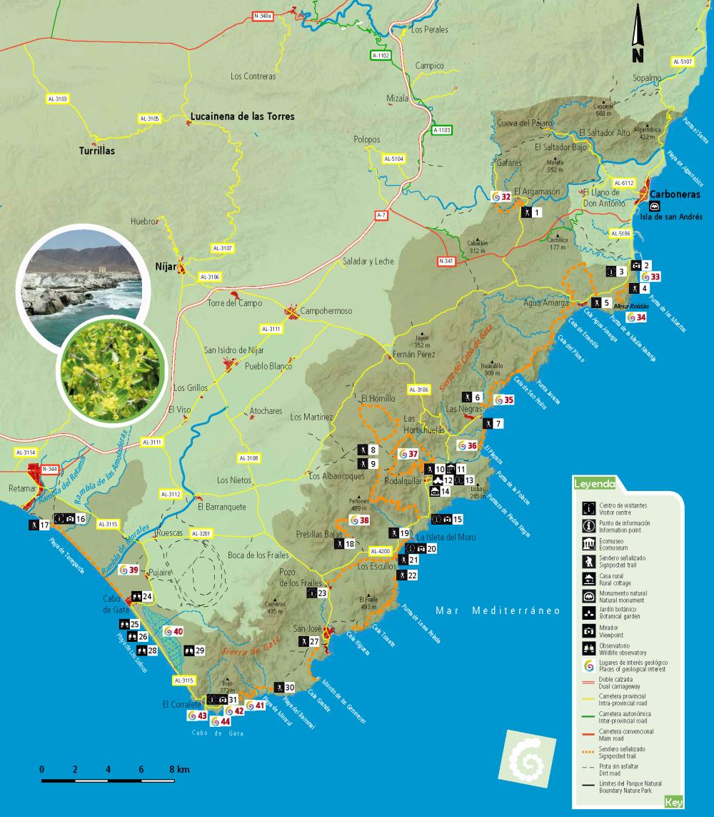 Cabo De Gata Mapa.Know The Cabo De Gata Nijar Geopark Consejeria De Medio