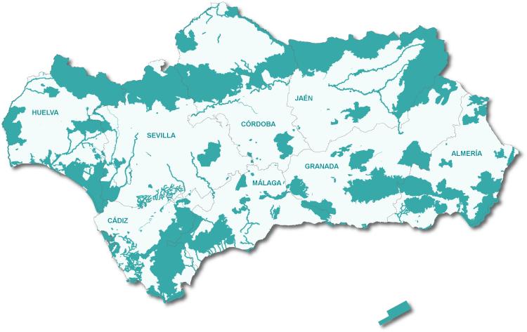 Mapa de los Espacios Naturales Protegidos de Andalucía