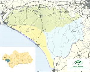 Imagen ilustrativa. Mapa del ámbito del ámbito POT de Doñana (Huelva y Sevilla)