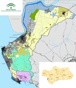 Imagen del mapa del ámbito del Plan de Ordenación del Territorio de la Costa Noroeste de Cádiz