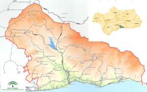 Imagen del mapa del ámbito territorial del Plan de Ordenación del Territorio de la Costa del Sol Oriental – Axarquía (Málaga