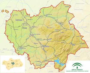 Imagen mapa ámbito territorial del Plan de Ordenación del Territorio del Sur de Córdoba