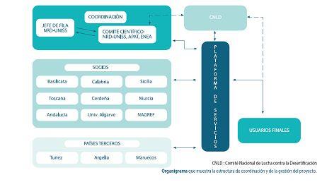 Organigrama de gestión del proyecto DESERTNET II