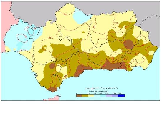 Amplia en nueva ventana: Comportamiento climatológico medio en verano: temperaturas medias y precipitaciones totales