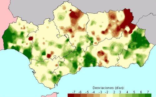 Desviación del número de días de lluvia en Primavera con respecto a la media del periodo 1971 - 2000