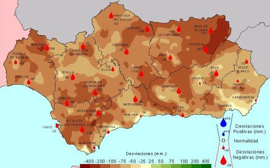 Desviación de las precipitaciones en Primavera con respecto a la media del periodo 1971 - 2000