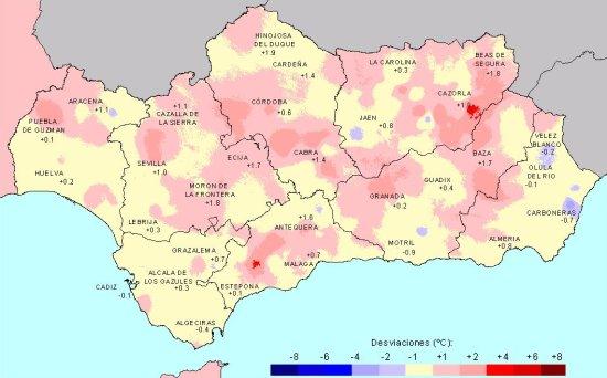 Desviación de las temperaturas medias en Primavera con respecto a la media del periodo 1971 - 2000