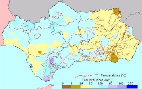 Comportamiento climatológico medio en Primavera: temperaturas medias y precipitaciones totales