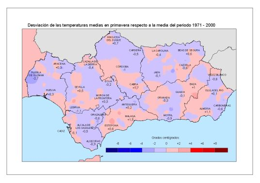 Amplia en nueva ventana: Desviaci&oacute;n de las temperaturas medias en primavera respecto a la media del periodo 1971 - 2000