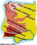 Mapa que representa el alcance regional del macizo hercínico de la meseta