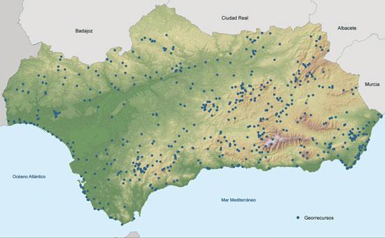 Localización de los georrecursos de Andalucía