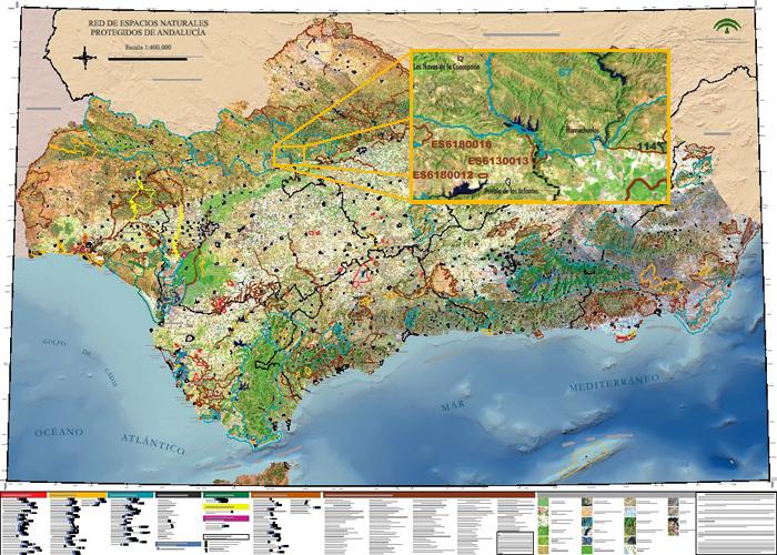 Mapa de la Red de Espacios Naturales Protegidos de Andalucía
