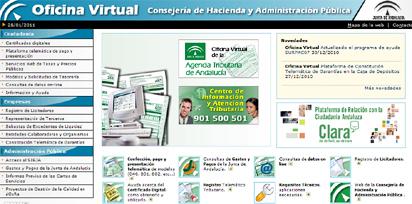 Página principal de la Oficina Virtual.