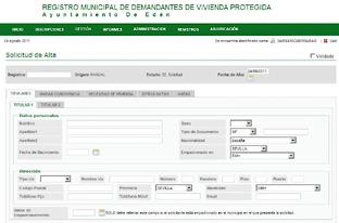 Web de inscripción en el Registro de Demandantes de VPO.