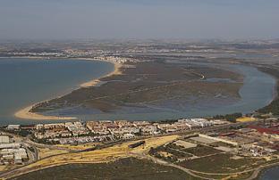 La zona de mareas del Parque de los Toruños, en la Bahía de Cádiz.