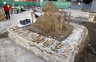 Excavaciones en las obras del Metro de Málaga.