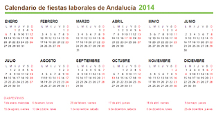 Calendario de fiestas laborales de Andaluca de 2014.