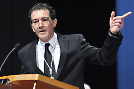 Antonio Banderas, durante el discurso que pronunció en el acto institucional del Día de Andalucía de 2013 tras ser nombrado Hijo Predilecto de la comunidad.