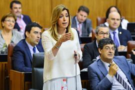 Susana Díaz, durante la sesión de control al Gobierno en el Parlamento andaluz.