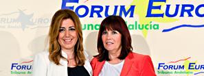 La presidenta de la Junta presenta la conferencia de Micaela Navarro en el Fórum Europa-Tribuna Andalucía