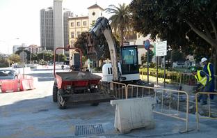 Obras en el tramo Renfe-Guadalmedina.
