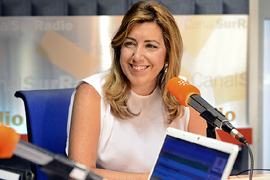 La presidenta andaluza, durante la entrevista en Canal Sur Radio.