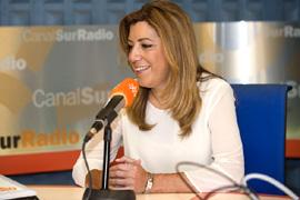 La presidenta de la Junta, Susana Díaz, durante su entrevista en Canal Sur.