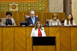 La presidenta, en un momento de su discurso durante el debate de investidura.