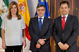 Susana Díaz, junto a Francisco Román y Antonio Fernández.