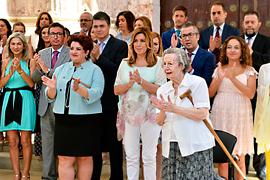 Un momento de la celebración institucional en el Parlamento del 130 aniversario del nacimiento de Blas Infante.