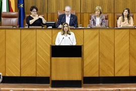 La presidenta de la Junta de Andalucía, Susana Díaz, durante su discurso en el Debate sobre el Estado de la Comunidad.