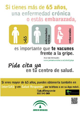 Cartel informativo de la campaña 2017 de la gripe en Andalucía.