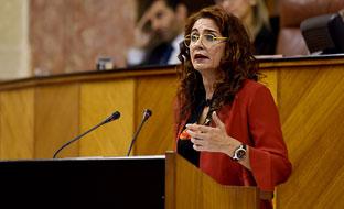 María Jesús Montero interviene desde la tribuna del Parlamento en el debate de totalidad del proyecto de Ley de Prespupuesto de la Comunidad Autónoma de Andalucía para 2018.