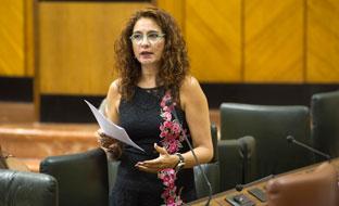 La consejera de Hacienda, durante la sesión plenaria.