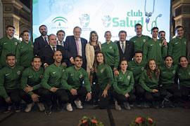 Susana Díaz, en el acto de presentación del Club Salud de la Real Federación Andaluza de Fútbol (RFAF), celebrado en Sevilla.