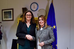 Vídeo resumen de la comparecencia de Susana Díaz en Bruselas posterior a la reunión con la comisaria de Comercio