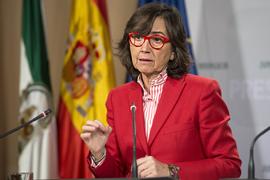 Rosa Aguilar, durante la comparecencia posterior al Consejo de Gobierno.