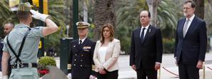 Susana Díaz asiste en Málaga a la apertura de la XXV Cumbre Hispano Francesa en la que participan Rajoy y Hollande