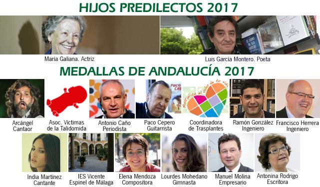 Personalidades reconocidas con los títulos de Hijo Predilecto y Medallas de Andalucía en 2017 (Pinchar para ver Amplación). Fuente: Elaboración propia. Fotos: EFE y Junta de Andalucía