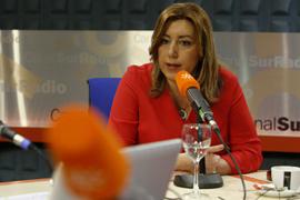 Susana Díaz, durante la entrevista en Canal Sur Radio.