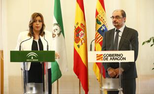 La presidenta de la Junta, durante su intervención. (Gobierno de Aragón)