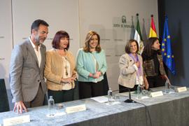 Susana Díaz, durante el acto, celebrado en San Telmo, la sede de la Presidencia del Gobierno andaluz.