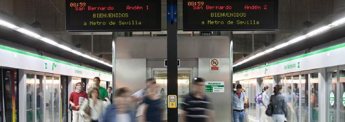 Vestíbulo de la estación de San Bernardo del Metro de Sevilla.