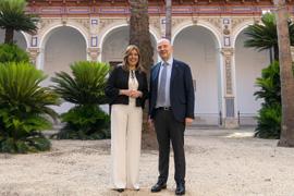 Susana Díaz y Pierre Moscovici, en San Telmo.
